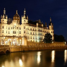 Amazing castle in Schwerin, Germany at night - HiVino