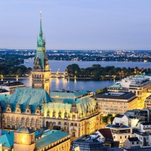 Impressive view on the Hamburg City Hall and surroundings, Germany