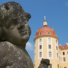 Nice statue in front of Moritzburg castle Germany