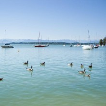 Water sports at lake Starnberg in Germany