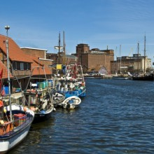 Old harbor in Wismar at the baltic sea Germany