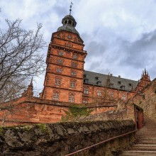 red sandstone Rennaissance architecture at Johannisburg palaceGermany