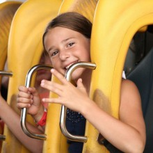 Girl preparing for a lot of adrenalin in Bayern-Park Germany