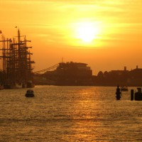 Sunset at the only deep water port in Germany, the Jade Weser Port