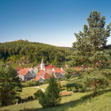 Panoramic view over Hirschwald the bavarian Toscana with Hohenburg castle (c) ClemensZahn
