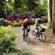 Wonderful bike tour through Rhododendron Park near Bad Zwischenahn, Germany