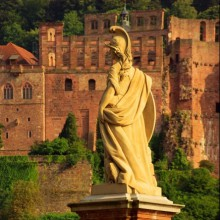 Beautiful statue in front of Heidelberg castle Germany